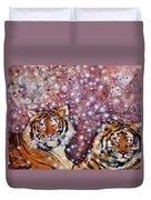 Sleeping Tigers Dream Such Sweet Dreams Kitties In Heaven Duvet Cover