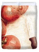 Sliced Tomatoes. Vintage Cooking Artwork Duvet Cover