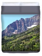 Sloping Mountain At Two Medicine Lake Duvet Cover by Carol Groenen