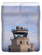 Small Air Traffic Control Tower Man Behind Glass Duvet Cover