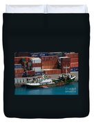 Small Boat With Cargo Containers Duvet Cover