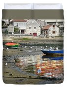 Small Boats And Seagulls In Galicia Duvet Cover