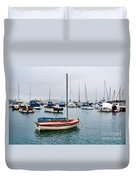 Small Boats At Lyme Regis Harbour Duvet Cover