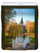 Small Chapel Across The Bridge In Fall Duvet Cover