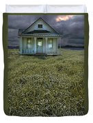 Small Cottage In Storm Duvet Cover