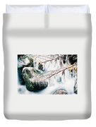 Small Creek Freezing Up Forming Icicles Duvet Cover
