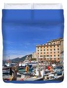 small harbor in Camogli. Italy Duvet Cover