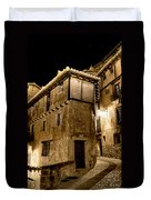 Small House In Albarracin At Night Duvet Cover