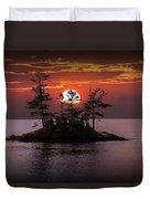 Small Island At Sunset Duvet Cover