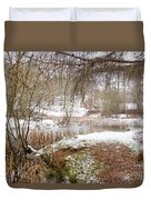 Small Lake In The Snow Duvet Cover