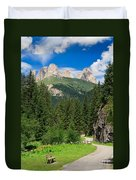 Small Road Along The River Duvet Cover