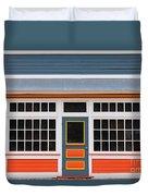 Small Store Front Entrance Colorful Wooden House Duvet Cover