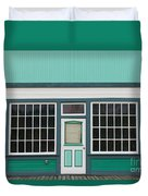 Small Store Front Entrance To Green Wooden House Duvet Cover