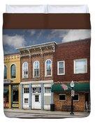 Small Town Main Street Shops Duvet Cover