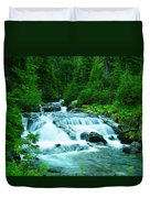 Small Waterfall On The Paradise River Duvet Cover
