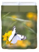 Small White Butterfly On Yellow Flower Duvet Cover