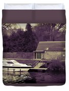 Small White Yacht In The Water Of The Caledonian Canal Duvet Cover