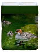 Smew With Ducklings Duvet Cover