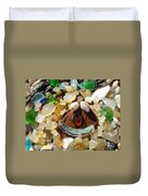 Smiley Face Art Prints Seaglass Shells Agates Beach Duvet Cover by Baslee Troutman