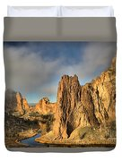 Smith Rock Foggy Morning Duvet Cover