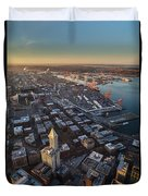 Smith Tower And West Seattle Duvet Cover