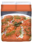 Smoked Salmon Pizza Closeup Duvet Cover
