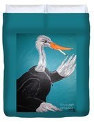 Smoking Egret In Leather Jacket Duvet Cover