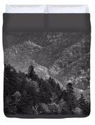 Smoky Mountain View Black And White Duvet Cover