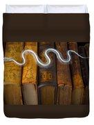 Snake And Antique Books Duvet Cover