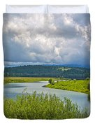 Snake River By Oxbow Bend In Grand Teton National Park-wyoming Duvet Cover