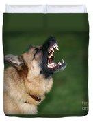 Snarling German Shepherd Dog Duvet Cover