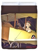 Snoopy In His Biplane Duvet Cover