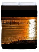 Snow And Ice Sunset Duvet Cover