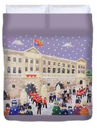 Snow At Buckingham Palace Duvet Cover by William Cooper
