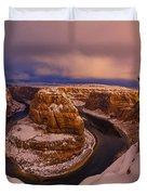 Snow At Horseshoe Bend Duvet Cover by Dustin  LeFevre