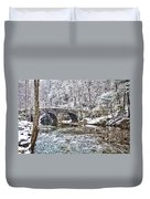 Snow Coming Down On The Wissahickon Creek Duvet Cover