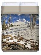 Snow Covered Mount Hood In Oregon Duvet Cover