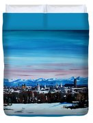 Snow Covered Munich Winter Panorama With Alps Duvet Cover