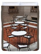 Snow Covered Patio Chairs And Tables Duvet Cover