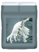 Snow Covered Pine Tree Branch Duvet Cover