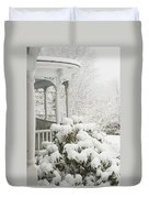 Snow Covered Porch Duvet Cover