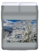 Snow Covered Tree And Winter Scene Duvet Cover