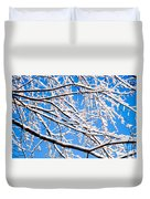 Snow Covered Tree Limb Duvet Cover