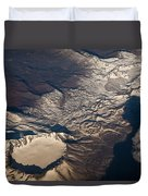Snow Covered Volcano Showing Caldera Duvet Cover