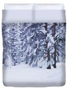 Snow-dappled Woods Duvet Cover