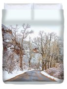 Snow Dusted Colorado Scenic Drive Duvet Cover