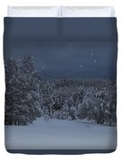 Snow Falling In A Forest Duvet Cover