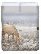 Snow Falling On Horses Duvet Cover