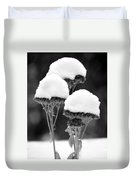 Snow Flowers Bw Duvet Cover