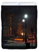 Snow In Downtown Grants Pass - 5th Street Duvet Cover